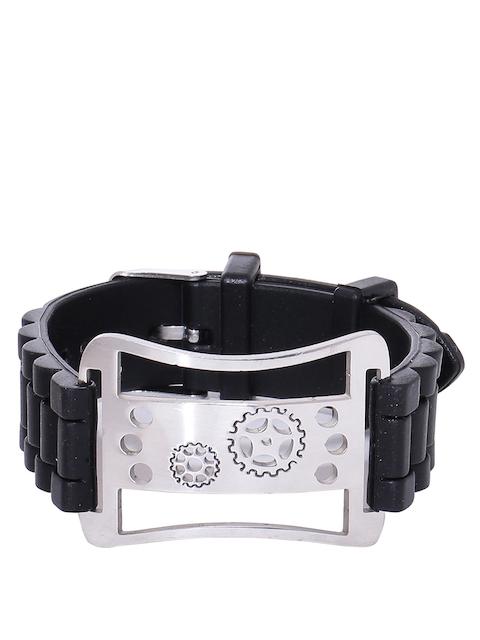 Dare by Voylla Men Black Rubber Bracelet