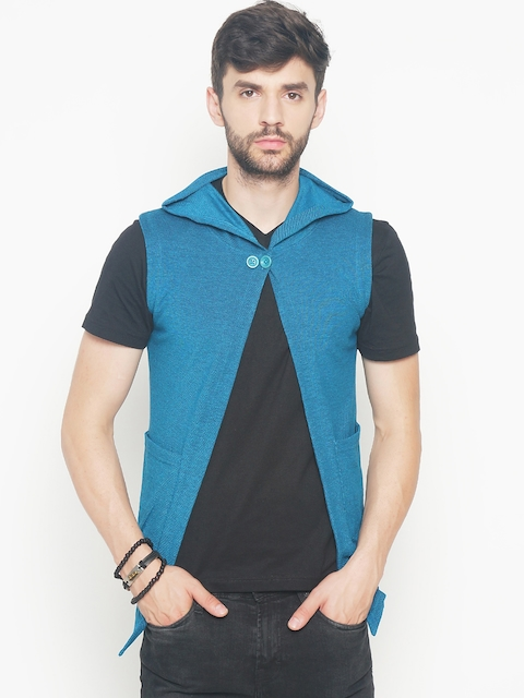 The Indian Garage Co Men Teal Blue Solid Lightweight Open Front Hooded Sleeveless Jacket  available at myntra for Rs.404