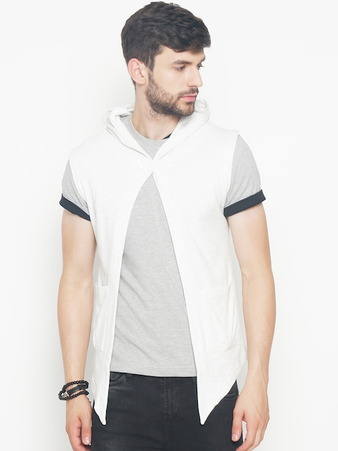 The Indian Garage Co Men White Striped Lightweight Open Front Hooded Sleeveless Jacket  available at myntra for Rs.404