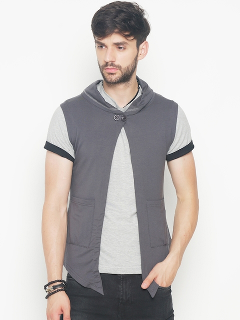 The Indian Garage Co Men Grey Solid Lightweight Open Front Hooded Sleeveless Jacket  available at myntra for Rs.404