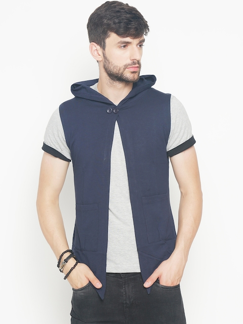 The Indian Garage Co Men Navy Blue Solid Lightweight Open Front Hooded Sleeveless Jacket  available at myntra for Rs.404