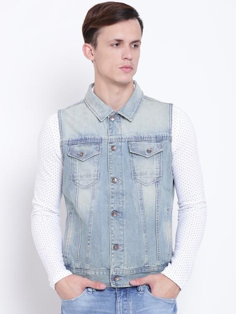 United Colors of Benetton Men Blue Washed Sleeveless Denim Jacket