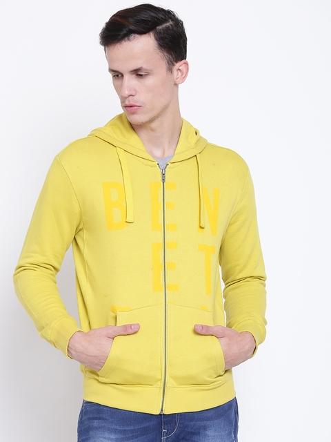 United Colors of Benetton Men Yellow Printed Hooded Sweatshirt