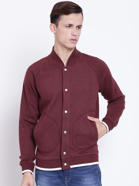 United Colors of Benetton Men Maroon Solid Sweatshirt