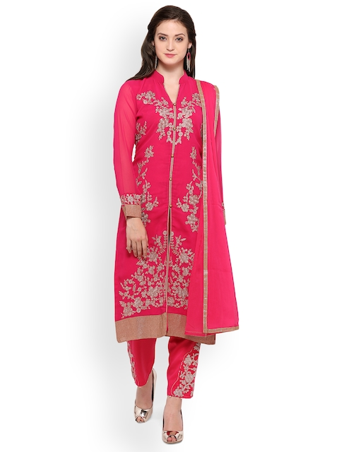 Ishin Pink Poly Georgette Semi-Stitched Dress Material
