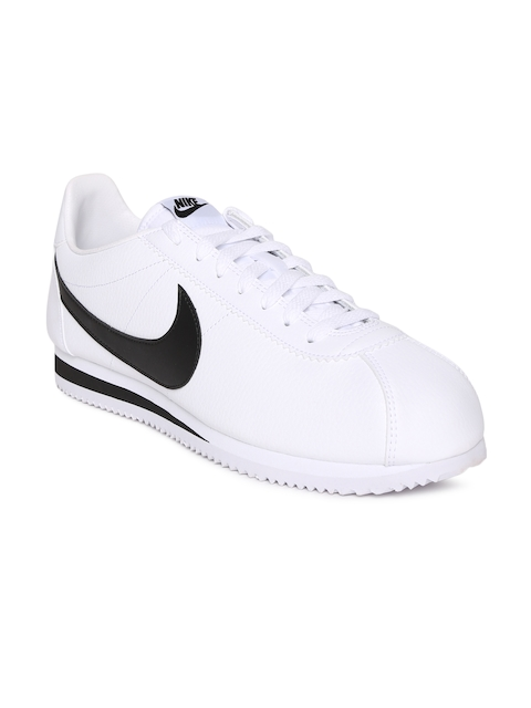 Nike Men White CLASSIC CORTEZ Leather Sneakers