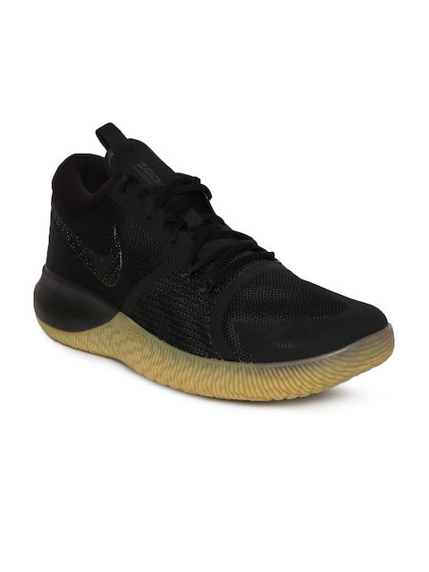 Nike Men Black Textile High-Top Zoom Assersion Basketball Shoes