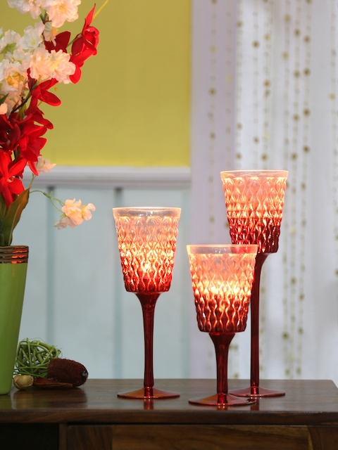Athome by Nilkamal Set Of 3 Red Candle Holders