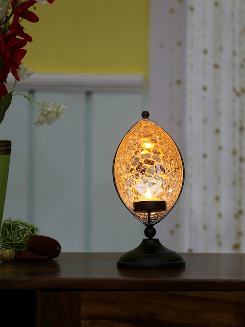 Athome by Nilkamal Black Eye-Shaped Candle Holder