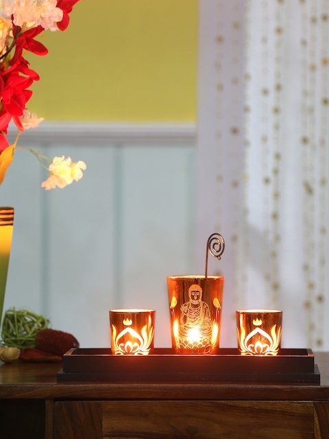 Athome by Nilkamal Set Of 3 Orange Divine Candle Holders With Tray