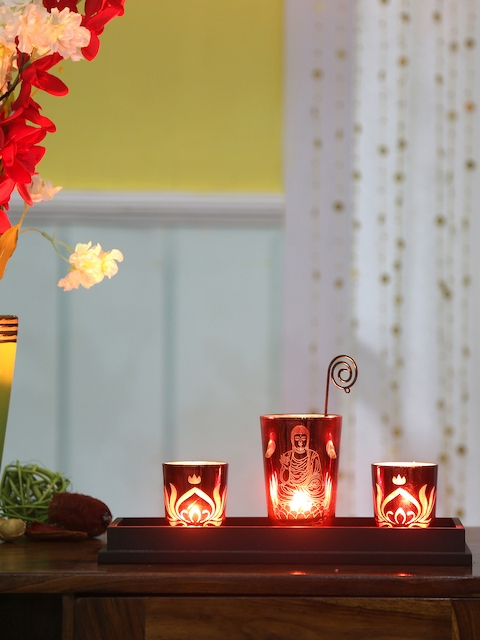 Athome by Nilkamal Set Of 3 Red Divine Candle Holders With Tray