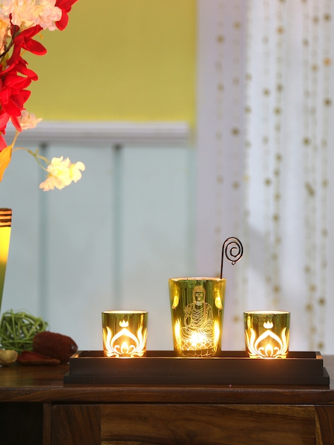 Athome by Nilkamal Set Of 3 Green Divine Candle Holders With Tray