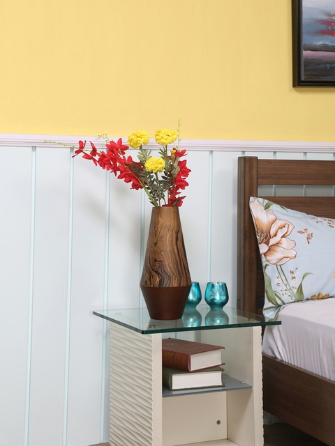 Athome by Nilkamal Brown Wooden Vase