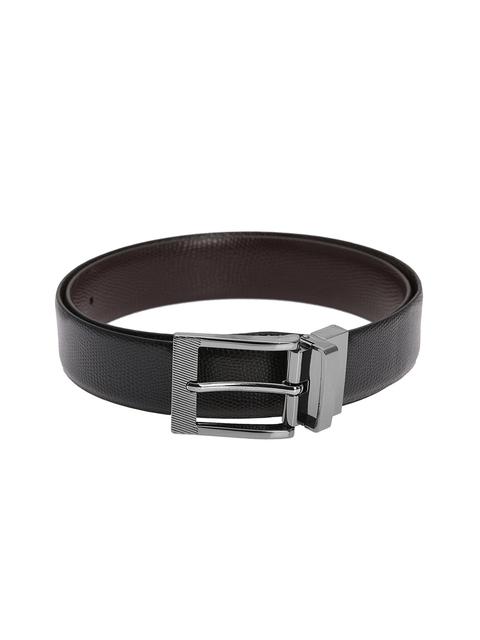 Alvaro Castagnino Men Black & Brown Textured Leather Belt