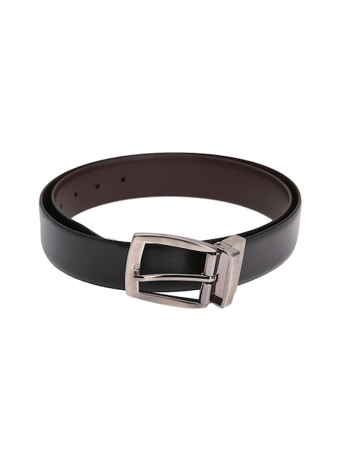 Alvaro Castagnino Men Black & Brown Solid Reversible Leather Belt