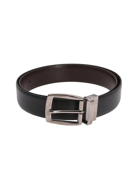 Alvaro Castagnino Men Black & Brown Leather Reversible Solid Belt
