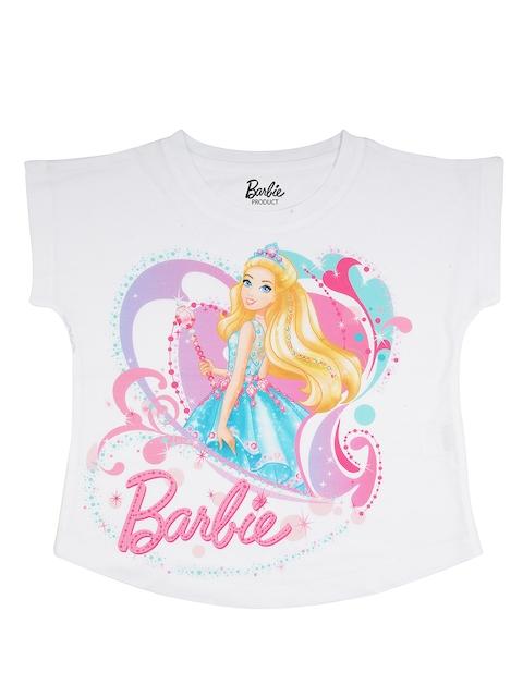 Barbie Girls White Printed Round Neck T-shirt