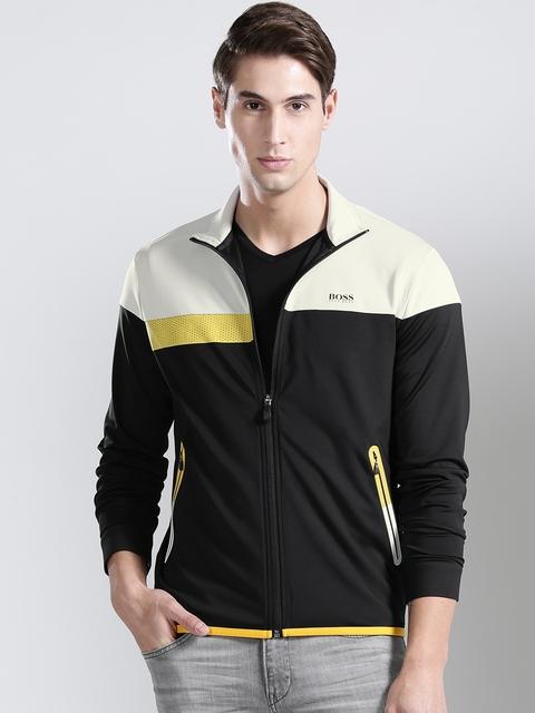 BOSS Green Men Black & Light Grey Colourblocked Sporty Jacket