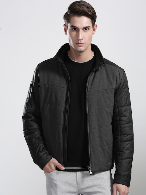 BOSS Green Men Charcoal Grey JHERO Solid Insulator Quilted Jacket
