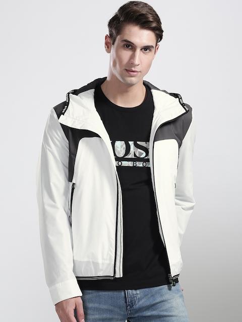 BOSS Green Men White & Grey Jonto Colourblocked Insulator Hooded Tailored Jacket