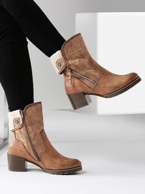 DressBerry Women Brown Heeled Boots