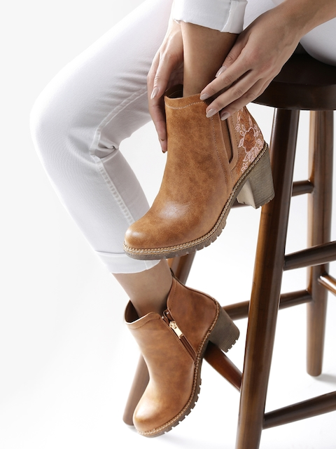 DressBerry Women Tan Brown Solid Embroidered Heeled Boots
