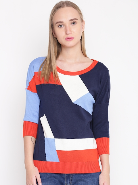 United Colors of Benetton Women Blue & Orange Colourblocked Sweater