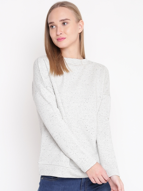 United Colors of Benetton Women Grey Melange Solid Sweatshirt