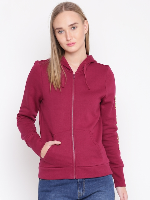 United Colors of Benetton Women Magenta Solid Hooded Sweatshirt
