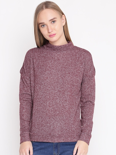 United Colors of Benetton Women Burgundy Solid Cold Shoulder Sweatshirt