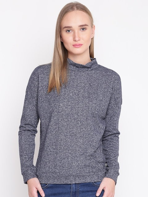 United Colors of Benetton Women Grey Cold Shoulder Solid Sweatshirt