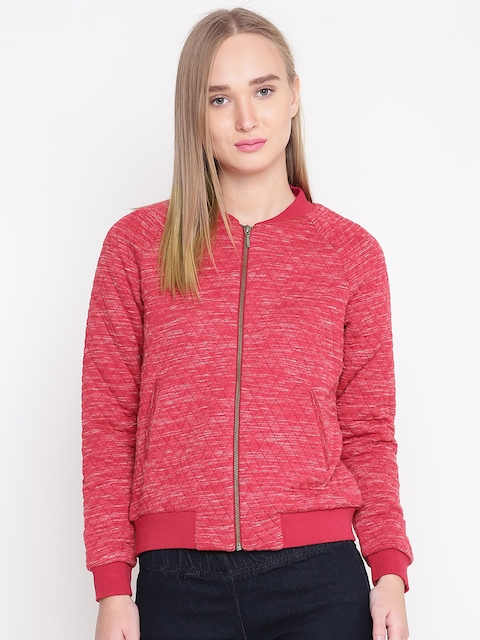 United Colors of Benetton Women Coral Red Quilted Bomber Jacket