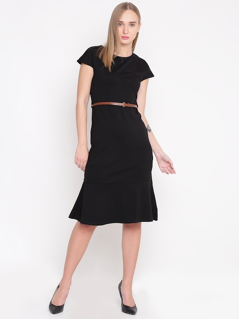 United Colors of Benetton Women Black Solid Belted A-Line Dress