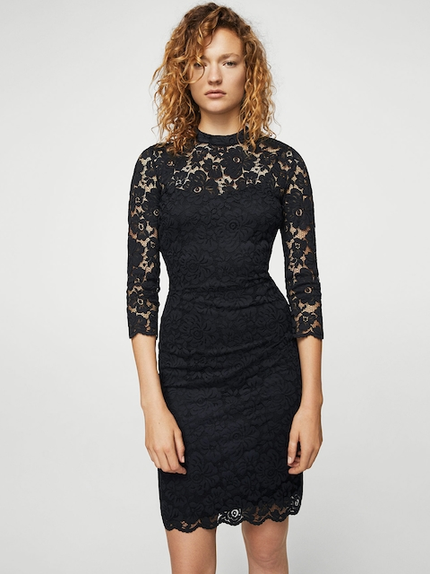 MANGO Women Black Lace Sheath Dress