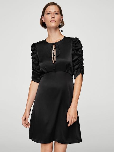 MANGO Women Black Solid Fit & Flare Dress