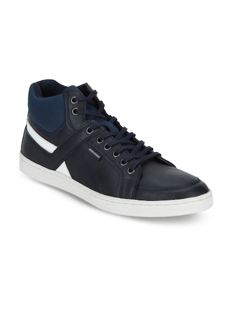 Bond Street By Red Tape Men Navy Blue Solid Synthetic Mid-Top Flat Boots
