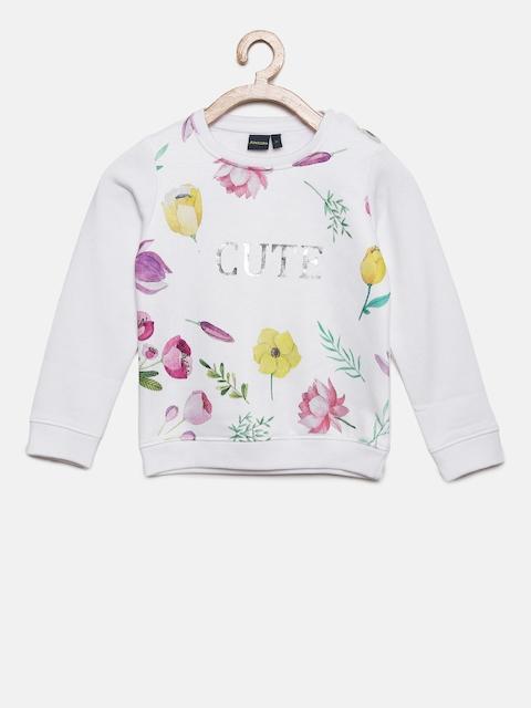 Juniors by Lifestyle Girls White Printed Sweatshirt