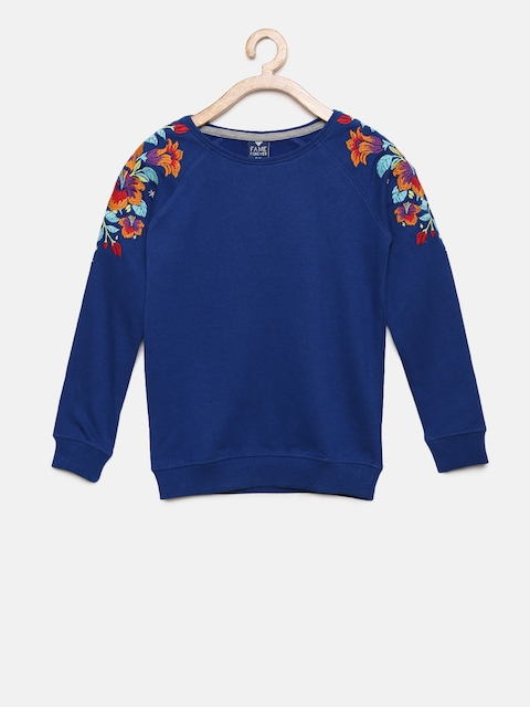Fame Forever by Lifestyle Girls Blue Embroidered Detail Sweatshirt