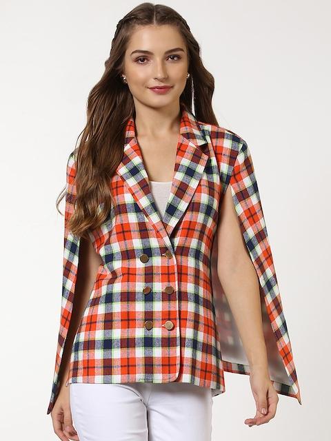 SASSAFRAS Women White & Orange Checked Cape Jacket