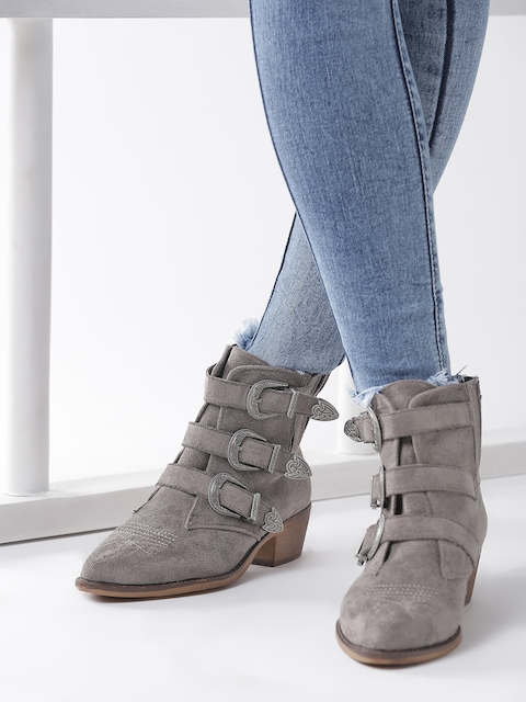 Roadster Women Grey Solid Heeled Boots