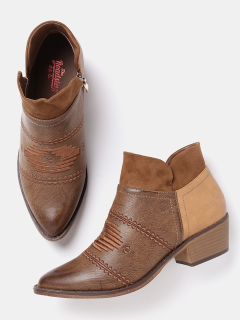 Roadster Women Brown Embroidered Heeled Boots