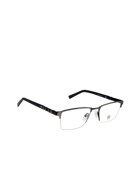 David Blake Unisex Grey Half Rim Rectangle Frames LCEWDB1337CK6056-C3
