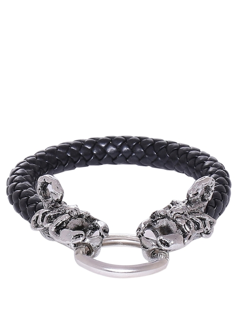 Dare by Voylla Men Silver-Toned & Black Bracelet