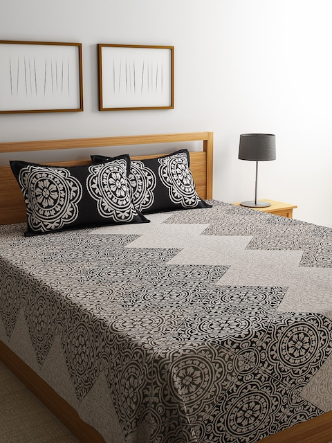 ROMEE Black Woven Design Polycotton Double Bed Cover with 2 Pillow Covers