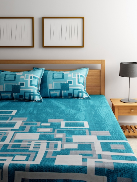 ROMEE Turquoise Blue Woven Design Polycotton Double Bed Cover with 2 Pillow Covers
