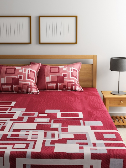 ROMEE Maroon Woven Design Polycotton Double Bed Cover with 2 Pillow Covers