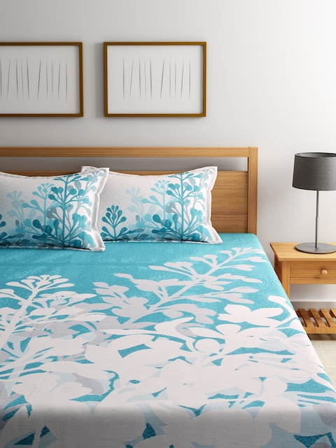 ROMEE Turquoise Blue Floral Polycotton Double Bed Cover with 2 Pillow Covers