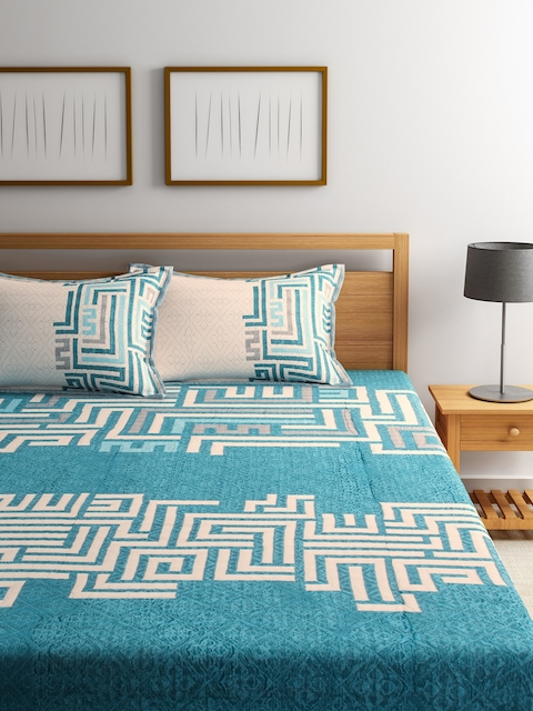 ROMEE Turquoise Blue Printed Polycotton Double Bed Cover with 2 Pillow Covers