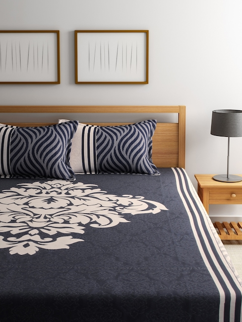 ROMEE Blue Printed Polycotton Double Bed Cover with 2 Pillow Covers