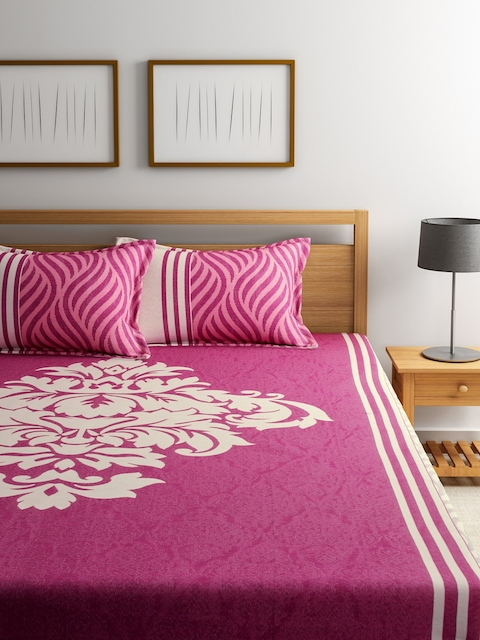 ROMEE Pink Printed Polycotton Double Bed Cover with 2 Pillow Covers